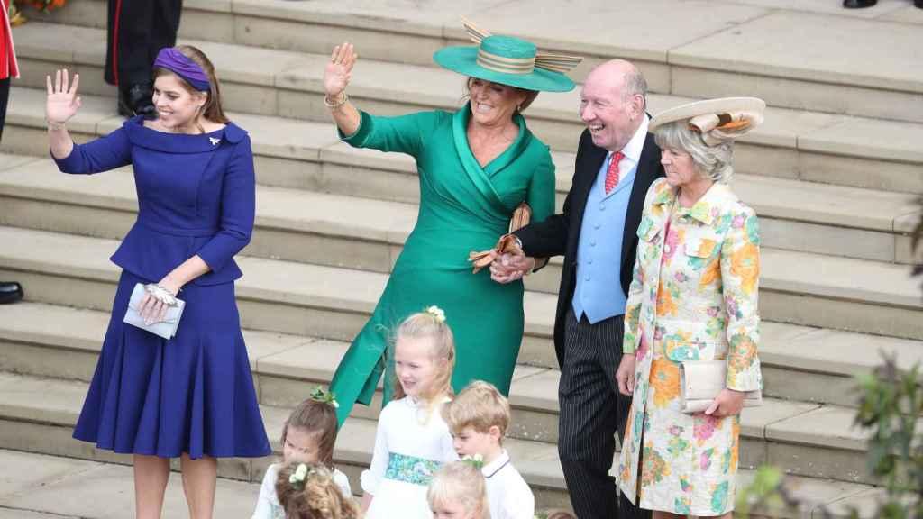 George y Nicola estuvieron junto a Sarah Ferguson en la boda de Eugenia y Jack.