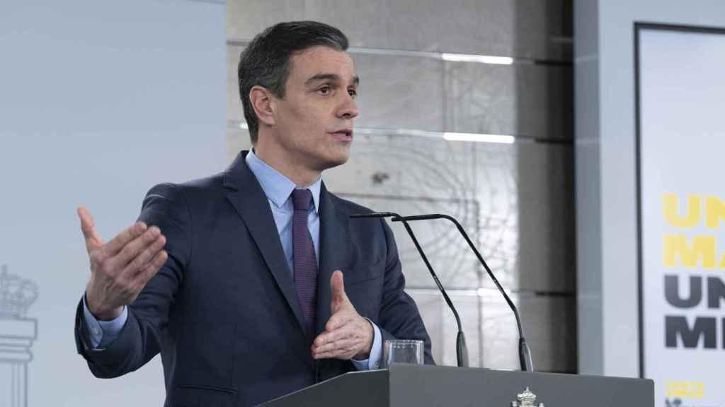 Pedro Sánchez, presidente del Gobierno, en la Moncloa.