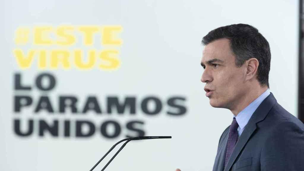 Pedro Sánchez, presidente del Gobierno, anuncia 15 días más de confinamiento, en la Moncloa.