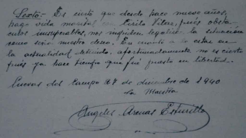 Escrito de la maestra Ángeles reconociendo su relación con Cirilo.