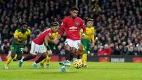 Marcus Rashford durante un partido entre el Manchester United y el Norwich City