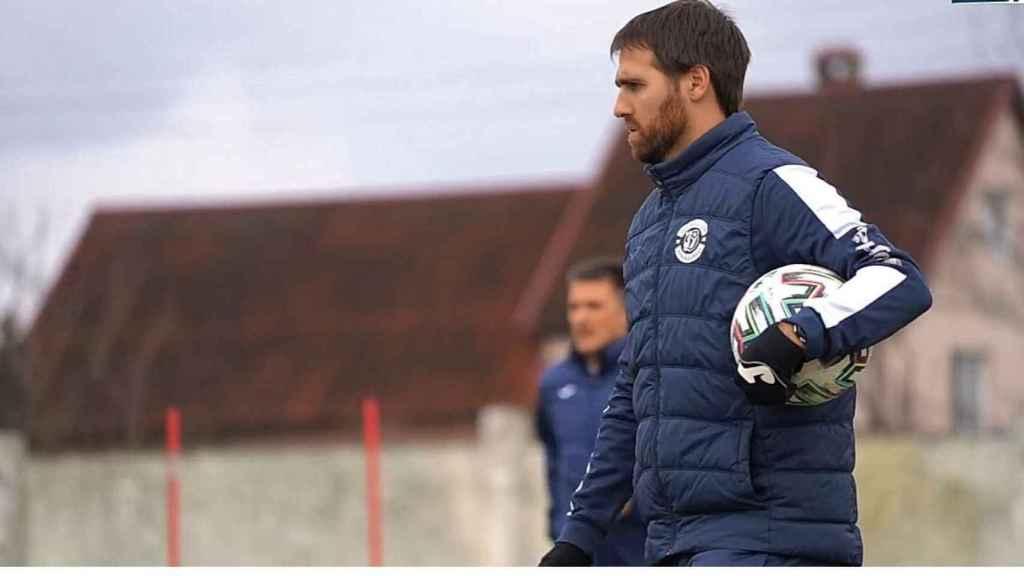 Fran Balaguer, durante un entrenamiento de Dinamo Brest