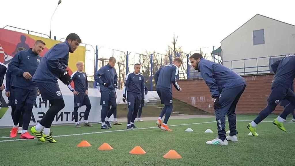 Fran Balaguer, durante un entrenamiento del Dinamo Brest