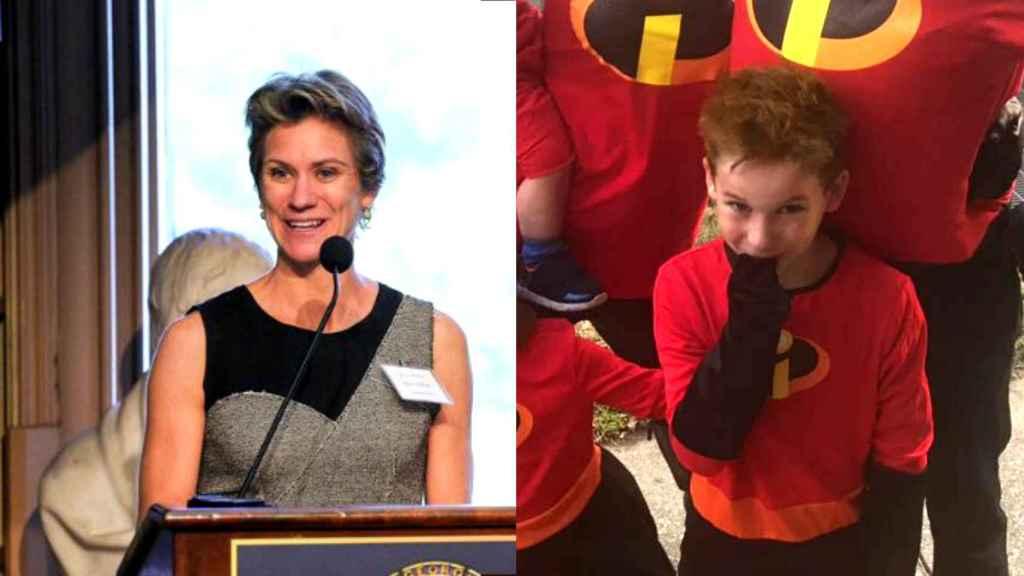 Montaje de JALEOS con Maeve Kennedy y su hijo Gideon con fotografías de sus redes sociales.