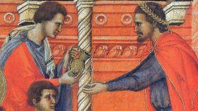 Grabado de Poncio Pilatos lavándose las manos.