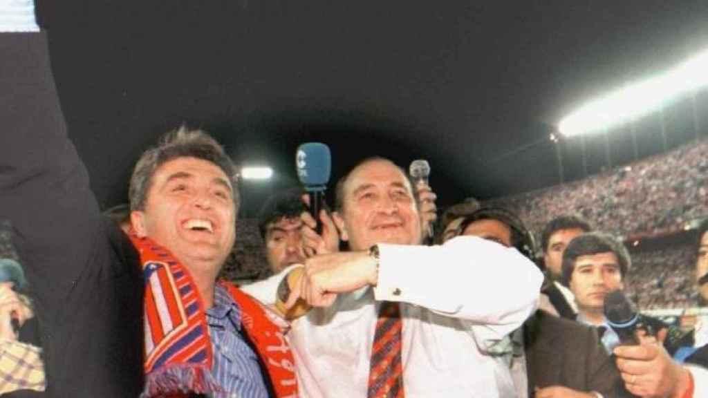 Radomir Antic y Jesús Gil celebrando la Liga del Atlético en 1996