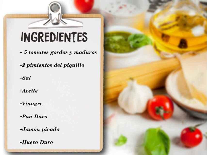 Los ingredientes del salmorejo de María Jesús Ruiz.