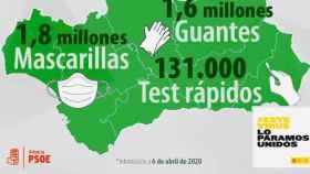 El PSOE de Almería pone su logo en la imagen del material sanitario enviado desde el Gobierno a Andalucía