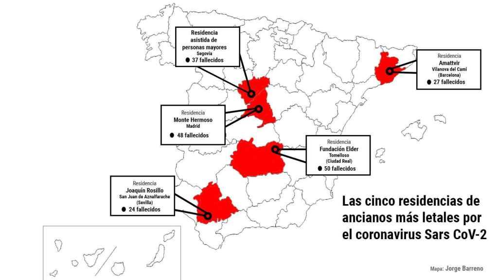 Las cinco residencias de ancianos más letales por el coronavirus Sars-CoV-2.