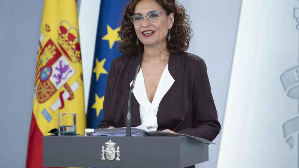 María Jesús Montero, ministra portavoz, en rueda de prensa tras el Consejo de Ministros.