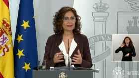 María Jesús Montero, ministra de Hacienda y portavoz, en la Moncloa.