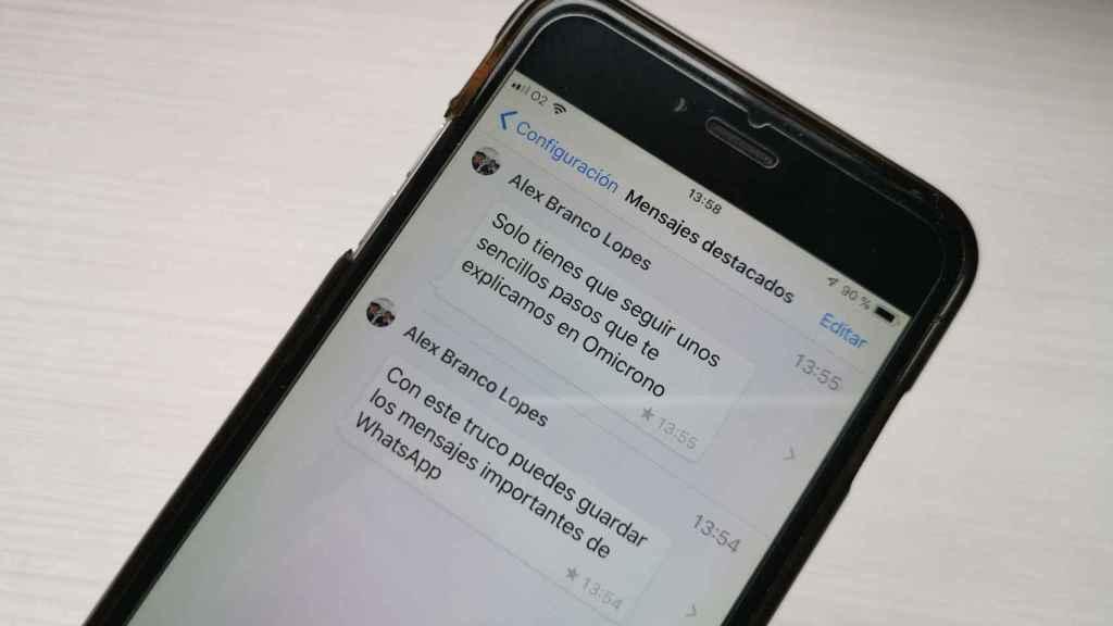 Mensajes destacados en WhatsApp.