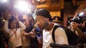 Ronaldinho, en su llegada al Hotel Palmaroga