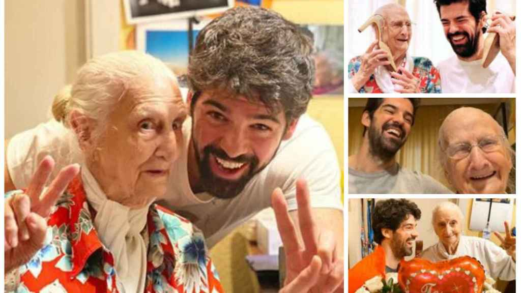 Miguel Ángel Muñoz junto a su abuela, la Tata, en un montaje de JALEOS.