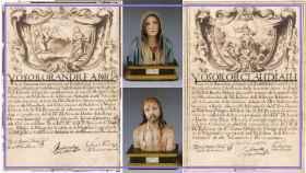 Las cartas de profesión de Andrea y Claudia junto con dos esculturas hechas por Andrea.