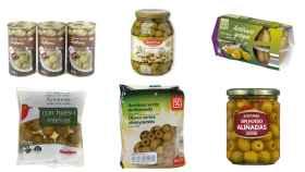 Aceitunas de marca blanca de Mercadona, Alcampo, Carrefour, Dia, Aldi y Lidl.