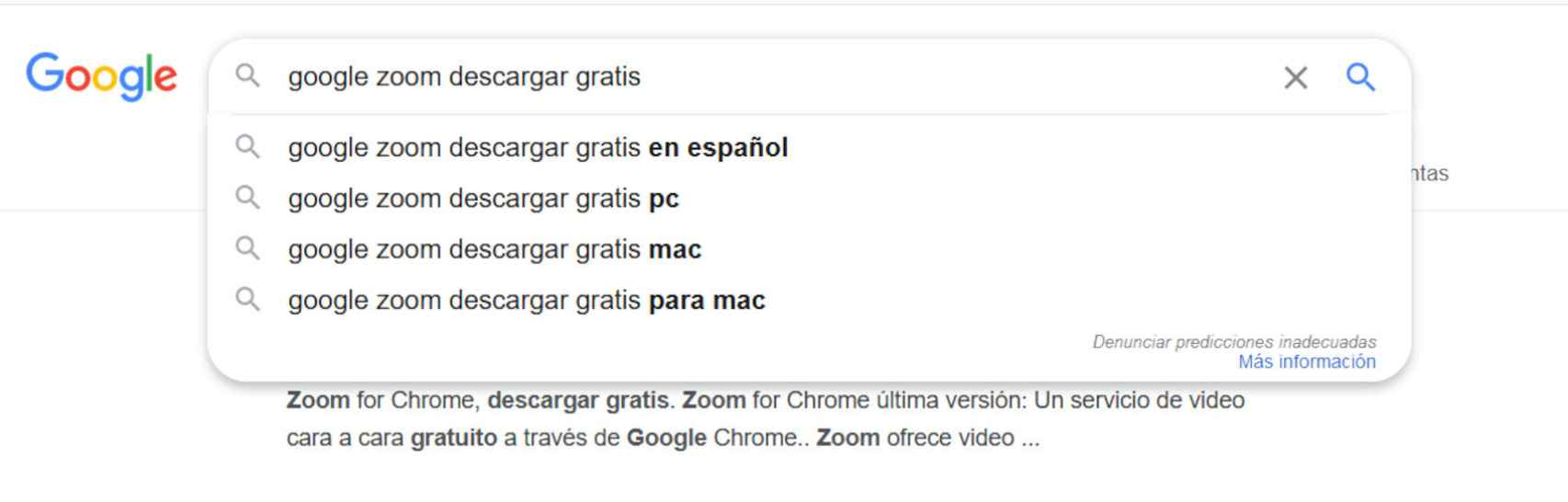 Búsquedas como google zoom descargar gratis nos pueden llevar a malware