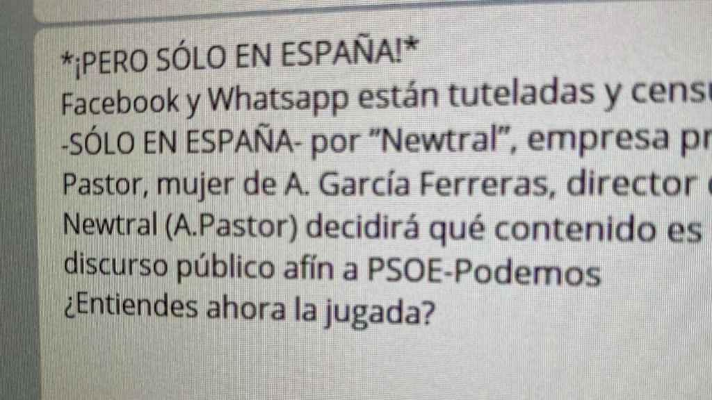 El mensaje que acusa al gobierno de PSOE-Podemos de censurar Whatsapp