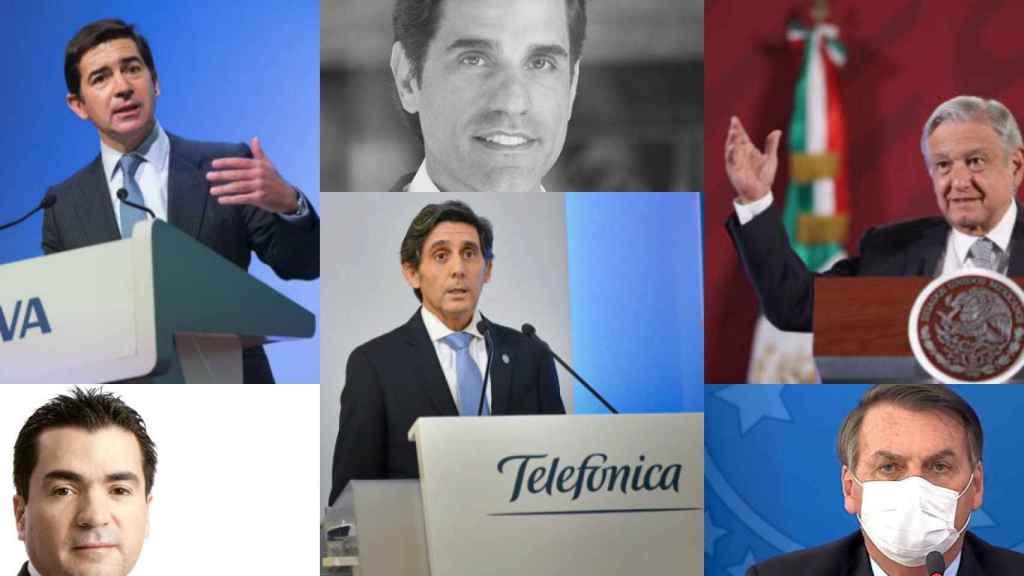 Carlos Torres Vila, Eduardo Osuna, Christian Gebara, J.Mª Álvarez-Pallete, Jair Bolsonaro y A. M. López Obrador.