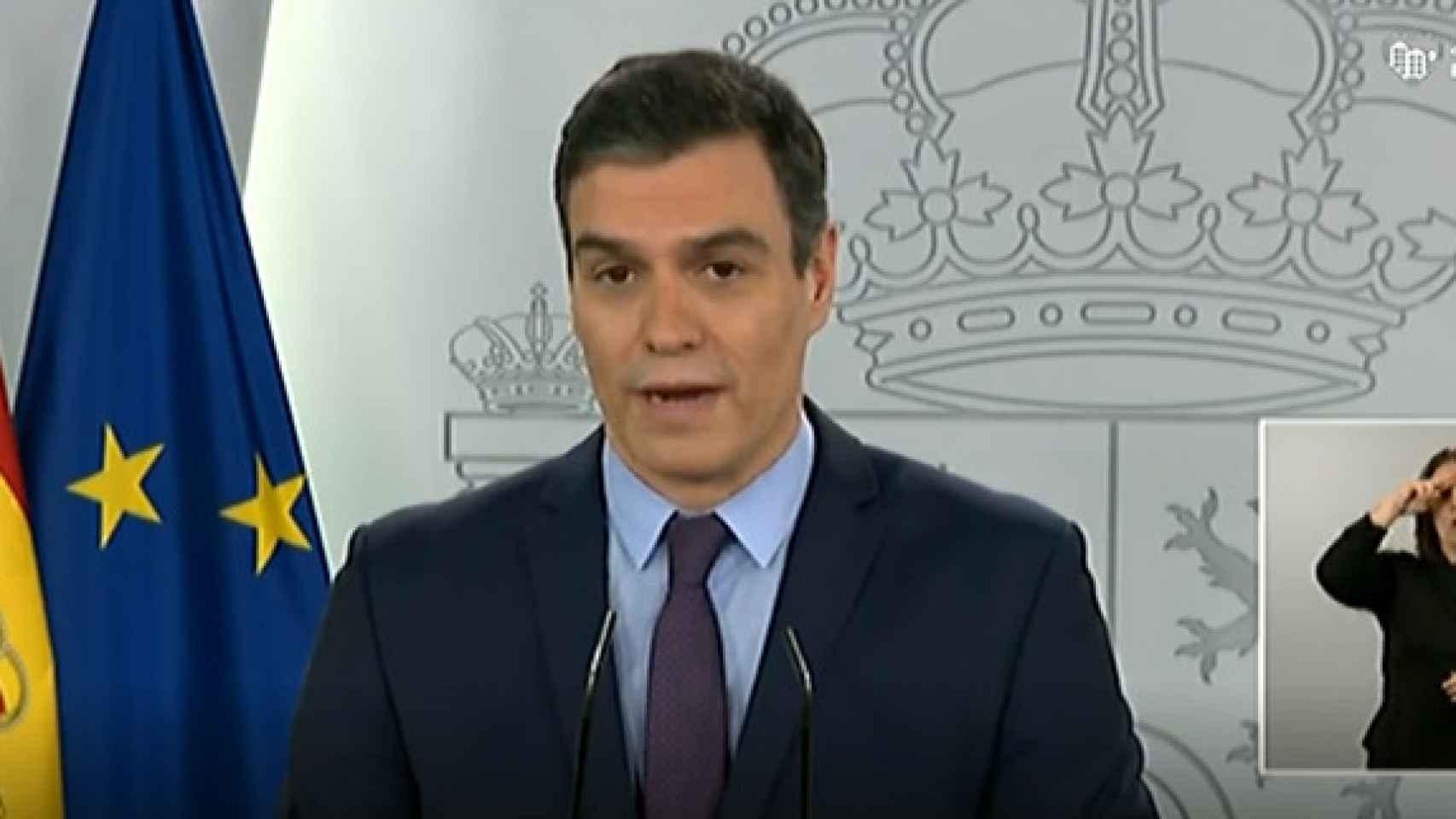 El presidente del Gobierno, Pedro Sánchez, durante su comparecencia.