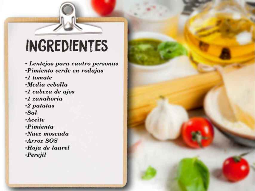 Los ingredientes de las lentejas de Karina.