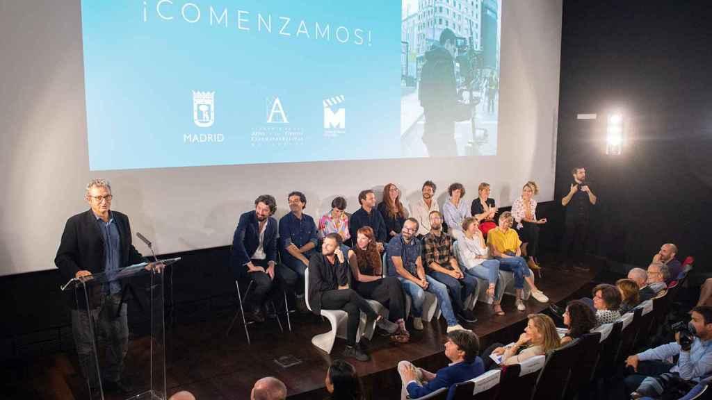 Los creadores de las Residencias el día de su presentación junto a Mariano Barroso.