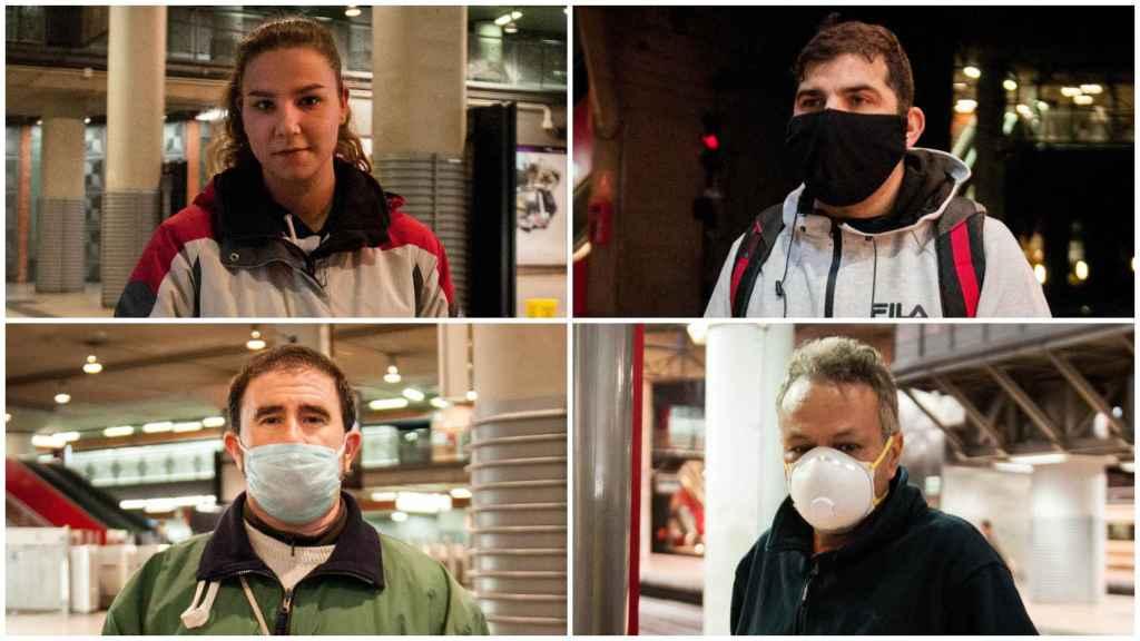 Nuria, Eduardo, Marcelino y Mustafá, cuatro trabajadores en la estación de Atocha.