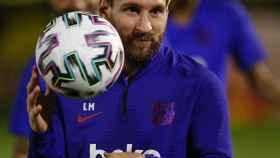 Leo Messi, durante un entrenamiento con el Barcelona
