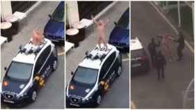 Los agentes tuvieron que intervenir para detener a la mujer que se había encaramado en el coche patrulla completamente desnuda