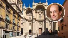 El penalista José María de Pablo y la catedral de Granada.