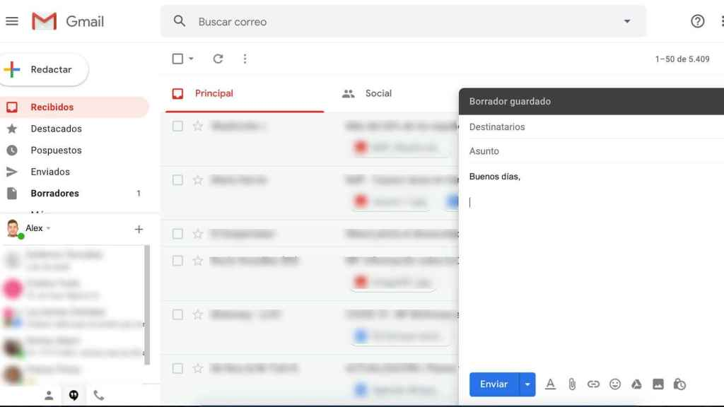 Interfaz Gmail.