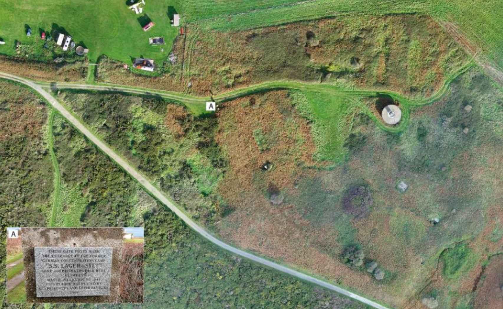 Vista aérea de los vestigios del campo de concentración de Sylt.