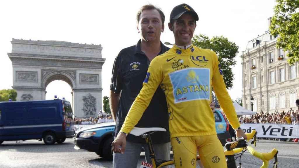 Bruyneel y Contador, en el Tour