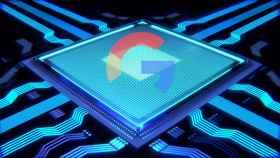 Fotomontaje del chip procesador de Google