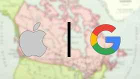 Logos de Apple y Google sobre un mapa.