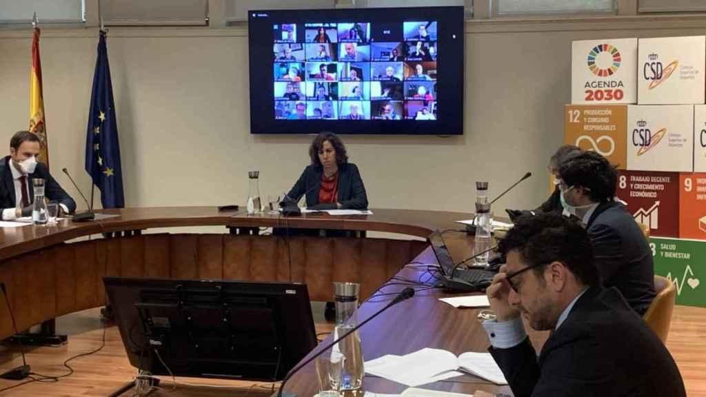 Irene Lozano durante una reunión en el Consejo Superior de Deportes