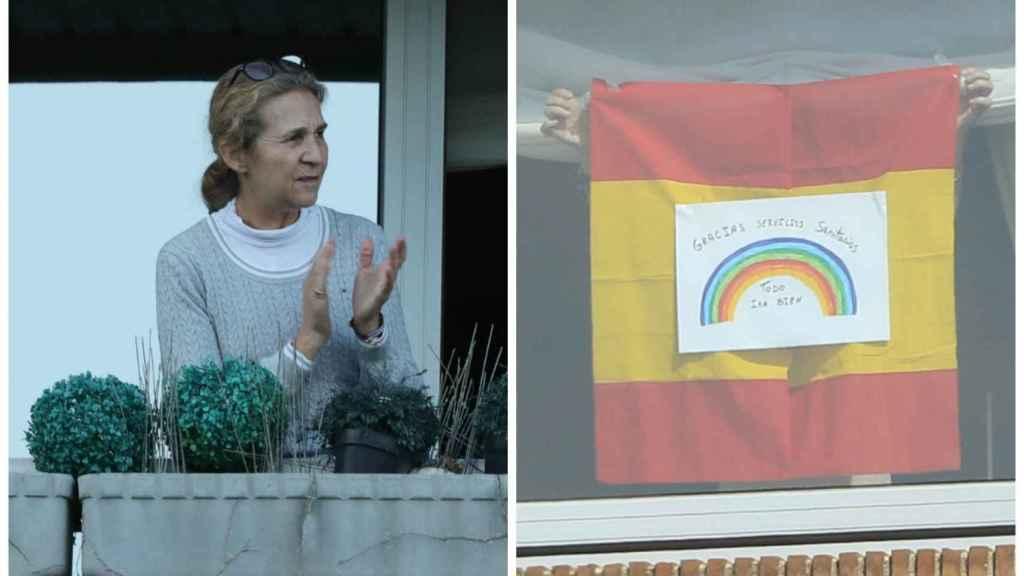 La infanta aplaudiendo y animando a los vecinos y sanitarios con un dibujo y la bandera de España.