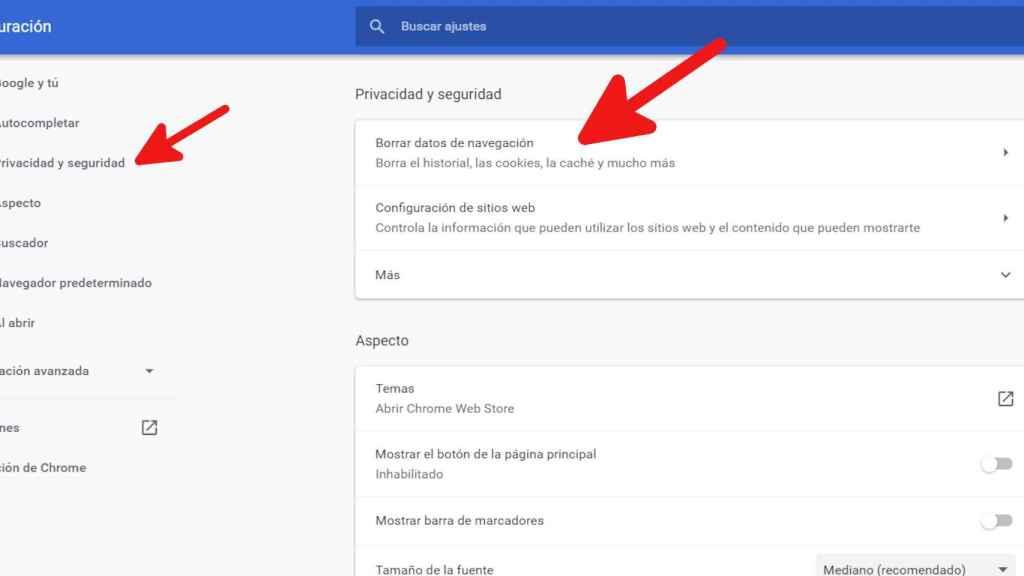 Cómo acceder a Borrar datos de navegación en Chrome