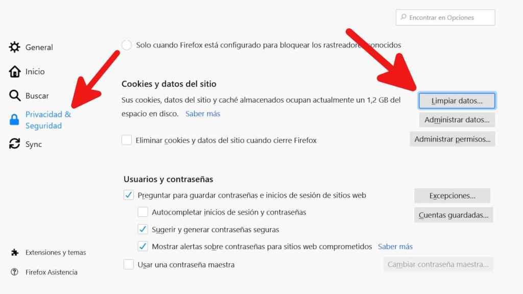 Cómo llegar a la sección Limpiar datos en Firefox