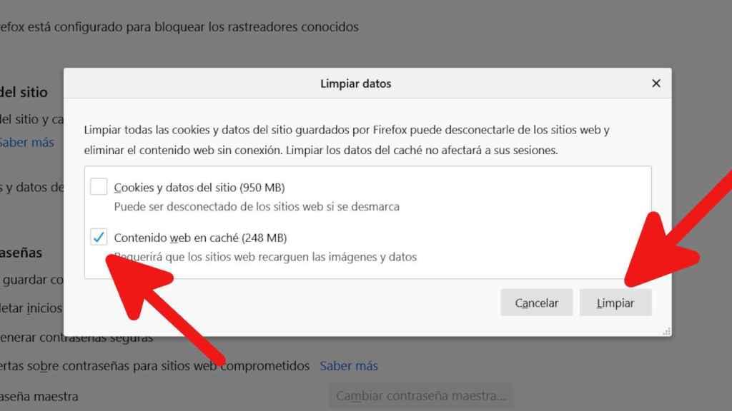 Limpiando la caché en Firefox
