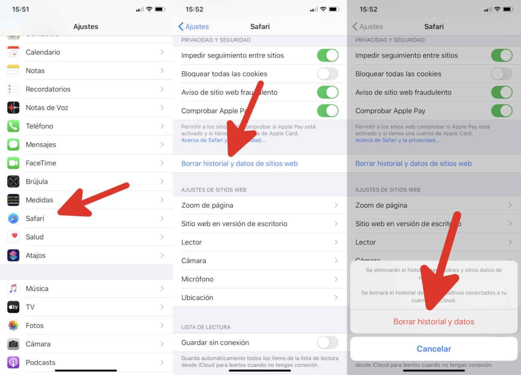 Borrando la memoria caché en Safari para iPhone