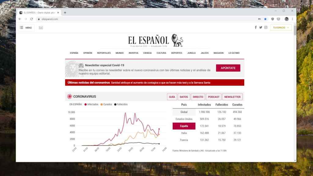 Portada de EL ESPAÑOL en Google Chrome
