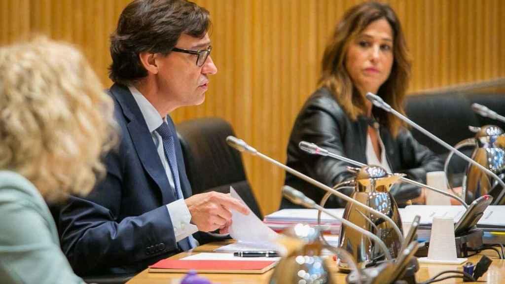 El ministro de Sanidad, Salvador Illa, en la comisión en el Congreso.