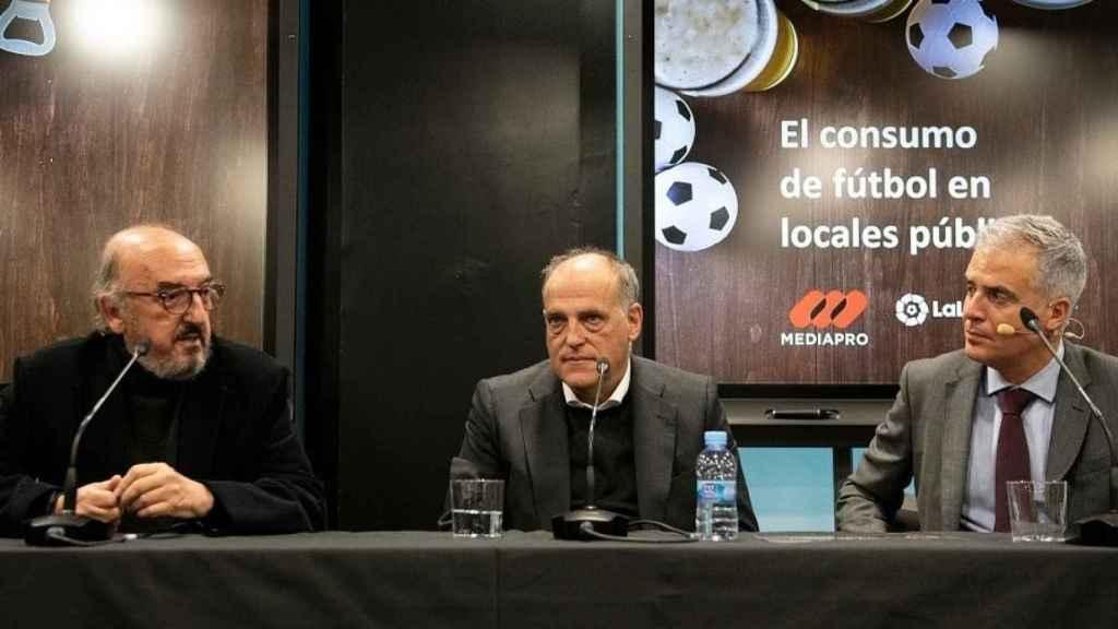 Jaume Roures, junto a Javier Tebas a principios de 2020