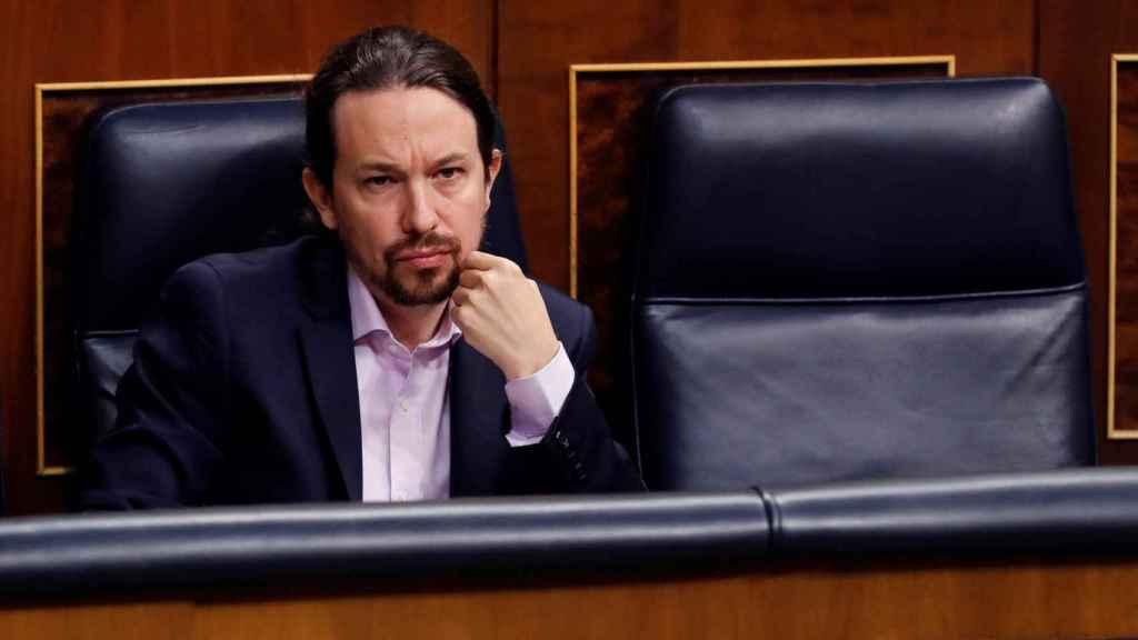 El vicepresidente segundo del Gobierno, Pablo Iglesias, este miércoles en el Congreso.