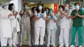 Aplauso a los sanitarios en el Hospital de Lugo.