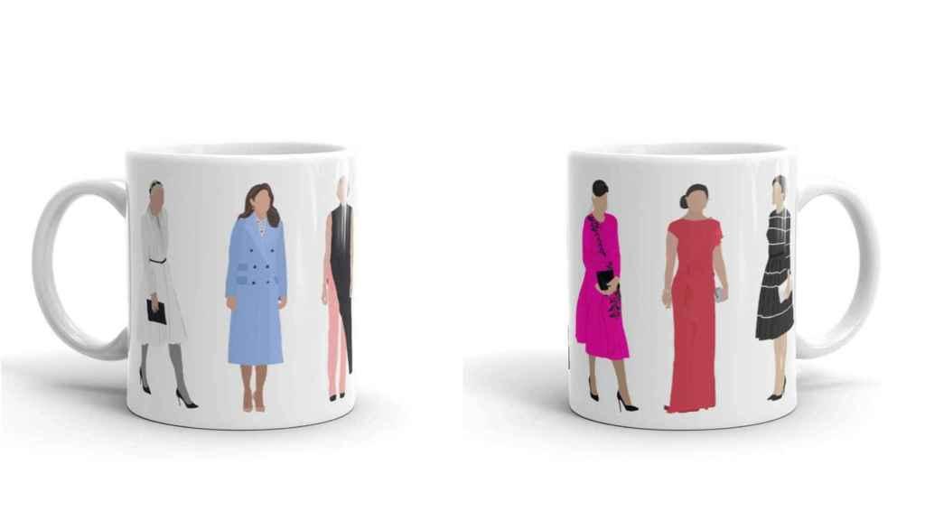 Letizia, Mette-Marit, Charlene de Mónaco, Victoria de Suecia, Mary de Dinamarca  y Máxima de Holanda en una taza.