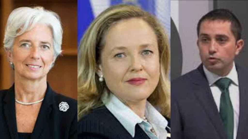 Christine Lagarde, Nadia Calviño y Xabier Sagredo.