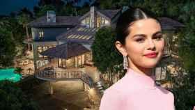 Selena Gómez en un montaje de JALEOS junto a la casa que se acaba de comprar.