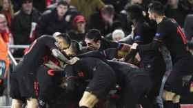 Jugadores del Atlético de Madrid celebran el pase a los cuartos de la Champions de este año tras eliminar al Liverpool.